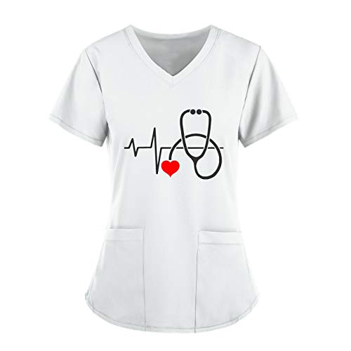Eilecentyhzm Damen Kurzarm T-Shirt mit Doppelt Tasche Stethoskop Druck Uniformen Tops Schlupfkasack V-Ausschnitt Outfits Herzschlag Spa Massage Berufskleidung Arbeitskleidung