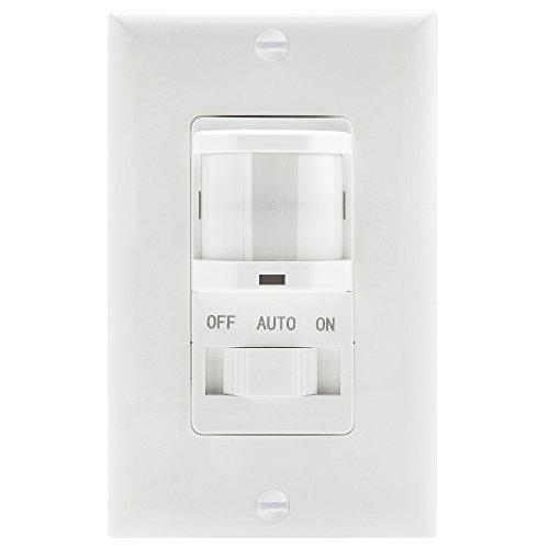 TOPGREENER TSOS5-White In Wall PIR Motion Sensor Light Switch, Occupancy Sensor Switch, On/Off Override, Single-Pole, Fluorescent 500VA/Motor 1/8Hp/Incandescent 500W, Neutral Wire REQUIRED, White