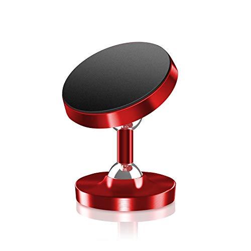 Neaer Soporte de coche magnético universal para coche con rotación de 360 grados, soporte de metal para teléfono móvil luminoso, soporte de coche para soporte de teléfono (color: rojo)