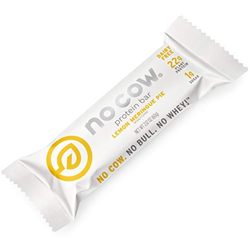 No Cow Protein Bars Lemon Meringue Pie 22g Plant Based Vegan Protein Keto Friendly Low Sugar Low Carb Low Calorie Gluten Free Naturally Sweetened Dairy Free Non GMO Kosher 12 Pack