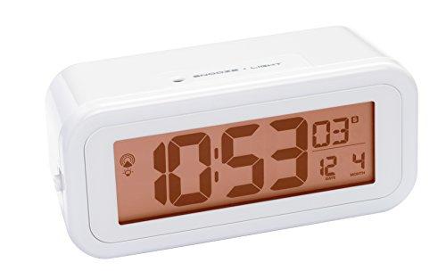 Bresser DCF Funkwecker MyTime Amber mit bernsteinfarbener, permanent einstellbarer Hintergrundbeleuchtung bei Nacht mit Lichtsensor (mit Batteriebetrieb), Alarm und Temperaturanzeige, weiß
