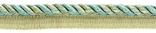 DecoPro Mehrfarbige 10 mm Mintparfait, Kieselstein, Seeblau, Sandstein-Kordel mit Nählippe, Stil: 0038 ml, Farbe: Aquamarin – PR10, 1 Yard = 91 cm