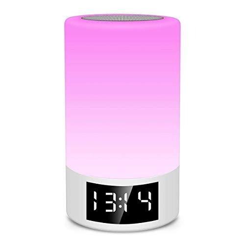QIXIAOCYB Drahtlose Bluetooth-Lautsprecher- Karte Fm Radio Wecker berühren Dimmen Kreative Tischlampe Bunte Licht Nacht Nachtlicht Tragbare Bluetooth- Lautsprecher Bluetooth-Lautsprecher