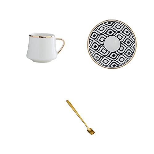 KDABJD Taza de café, taza de café de 80 ml, juego de taza de cerámica con platillo, té negro y café para fiestas de cocina, regalos para decoración del hogar