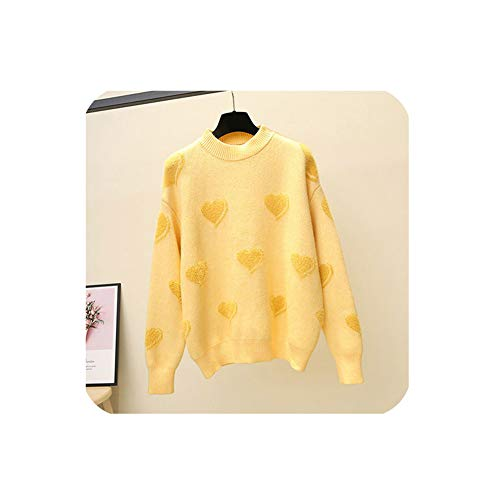 MoMo Heart Pattern Knit Pullover Sweater Women Jumper Winter Cute Long Sleeve Fluffy Sweater Yellow,Yellow,XL