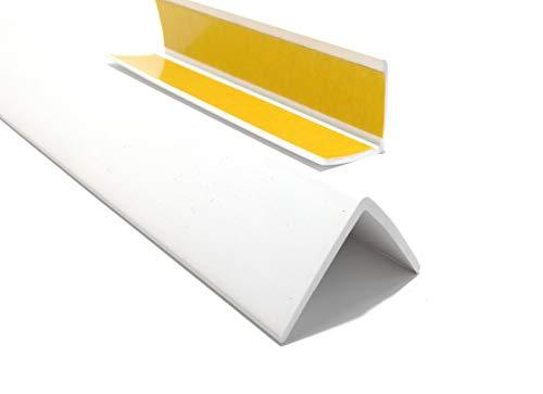 ProfiPVC Winkelprofil 35x35mm, Kunststoffwinkel aus PVC-Gummi - selbstklebend Kantenschutzprofil, elastischer Kantenschutz - Eckschutzprofil, einfache Montage - 200cm, Weiß