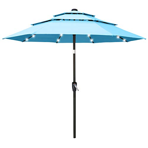 ABCCANOPY 9FT Solar 3 Tiers Market Umbrella Patio Umbrella Outdoor Table Umbrella with 32 LED Ventilation and Push Button Tilt for Garden, Deck, Backyard and Pool,8 Ribs Turquoise