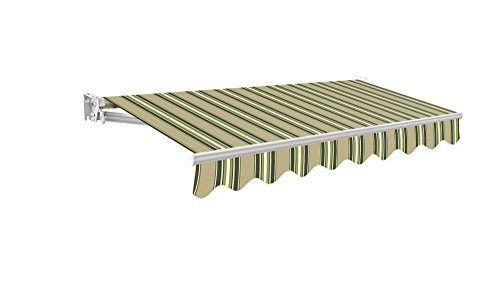 Primrose 2m Manual Awning - Multistripe Kensington DIY Patio Awning Gazebo Canopy Complete with Fittings and Winder Handle