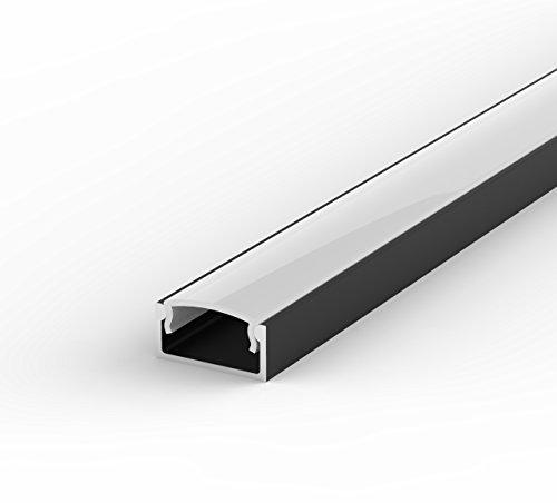 SET: LED Profil, 100cm Profil LED für LED Streifen, aluminium led profil LT4 + Abdeckung (Schwarz Milchig)
