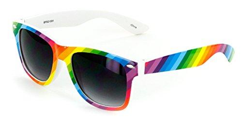'Good Times' Colorful Fashion Wayfarer Sunglasses (Rainbow w/Smoke)