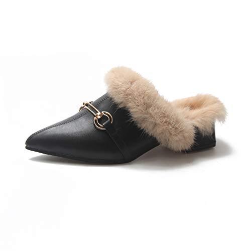 mofeng Donne Pelliccia Pantofola Autunno Inverno Caldo Scarpe Donna Strass Papillon Ciabatte Femminile Mules Mocassini, Nero (Nero), 37 EU