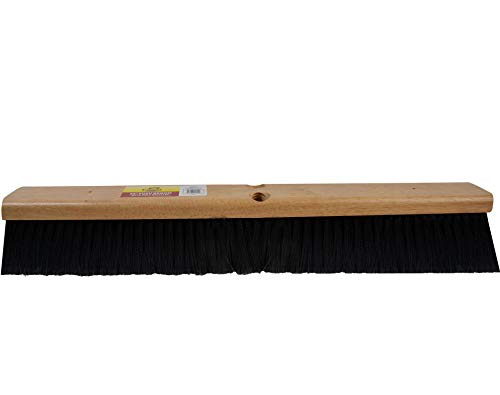 "Bristles 4036 36"" Indoor Push Broom Head – Heavy Duty Hardwood Block, Flagged Polypropylene Fiber, Brown"