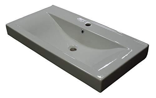 FACKELMANN Waschbecken PIURO/Waschtisch aus Keramik/Maße (B x H x T): ca. 89,5 x 16,5 x 44,5 cm/hochwertiges und Elegantes Becken fürs Badezimmer/Handwaschbecken fürs WC/Farbe: Weiß