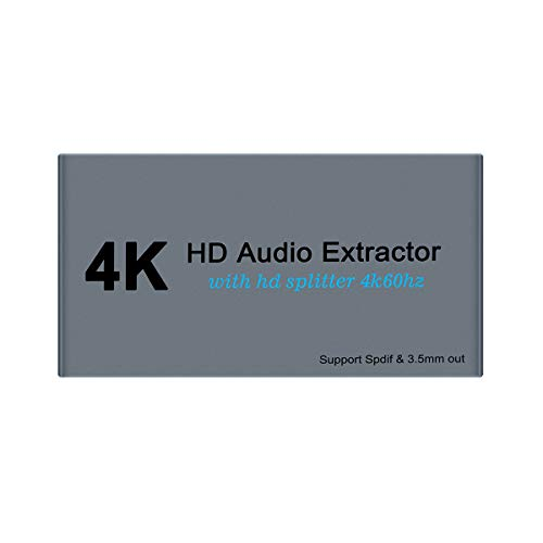 4K HDMI Audio-Extraktor mit 4K60hz HDMI Splitter 1 in 2 Out Spdif/Toslink/Optical 3.5mm Jack Audio-Out Signal Distributor for PS4 Xbox One DVD Blu-ray Player HD TV Projektor