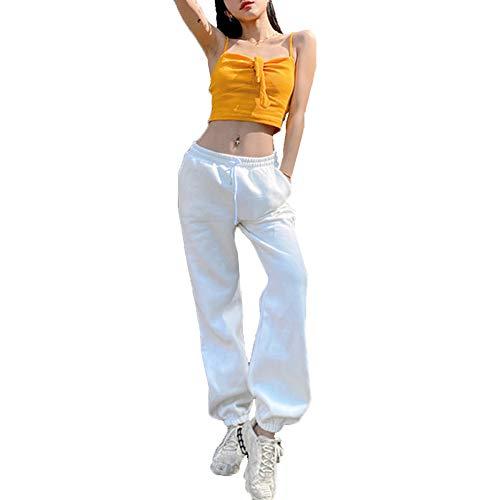 Cffvdiz Cintura Elástica De Las Mujeres Sweetpants Jogger Sport Pant,Plus Velvet White,M