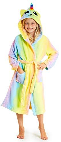 CityComfort Bademantel Kinder, Fleece Morgenmantel Kinder mit Regenbogen Katze, Super Weiche Einhorn Bademantel Mädchen, Schlafanzug Kinder, Geschenke für Mädchen (Katze, 7-8 Jahre)