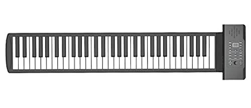 FEFCK Piano De Rollo De Mano con Soporte De Altavoz Midi Y Auriculares, Llave De 61 Teclas De Piano De Piano Portátil para Roll Up Piano