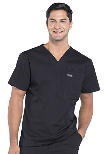 CHEROKEE Workwear WW Professionals Mens Men's V-Neck Top, WW675, L, Black