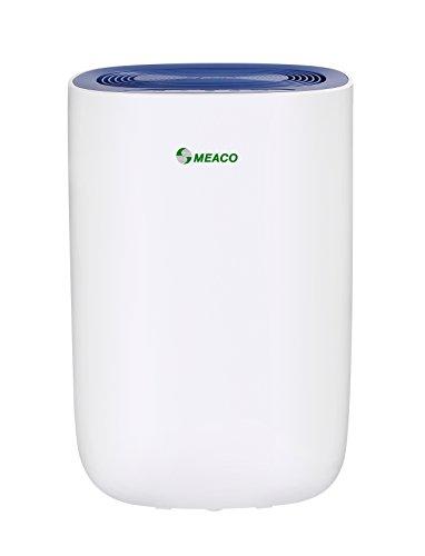 Meaco MeacoDry ABC 12LNB - Deshumidificador ultrasilencioso, 35 dB, función secadora, diseño compacto, bajo consumo de energía, 165 W, 240 V, Blanc Avec Panneau Bleu