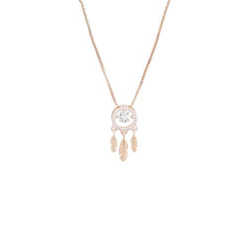 zlw-shop Collar de Mujer Cadena de Plata esterlina del colector del sueño de la Hoja de Arce de la clavícula del Collar de Las Mujeres Pendientes del colector del sueño Collares Collares Pendientes