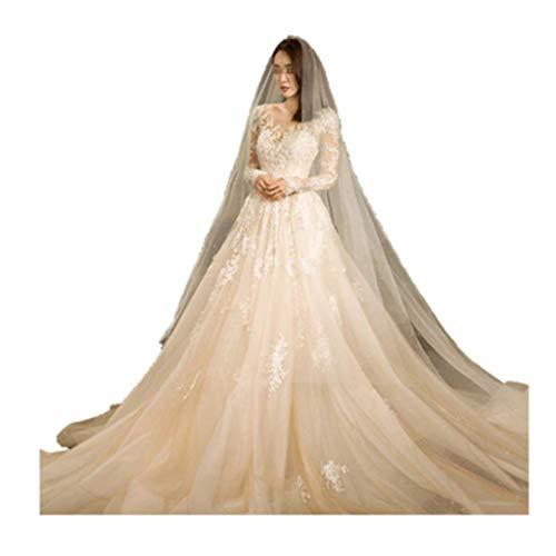FTFTO Home Accessories Stylish Simplicity Bridal Dress - Long Sleeve Slim Long Tailing Palace Style Bridal Gown Prom Dress Prom Dress Medium