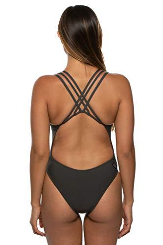JOLYN Women's Fixed-Back Ryker One-Piece Swimsuit (Asphalt, 28)