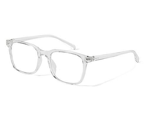 Effnny Bloqueo de luz azul Gafas anti fatiga filtro UV juegos de computadora monturas de gafas de lectura Para hombres mujeres 5025 (Transparente)