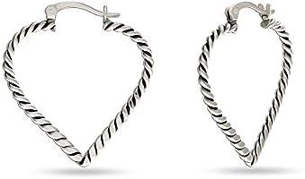 HIKARO Sterling Silver Jewelry Light-Weight Antique Heart Hoop Earring for Women