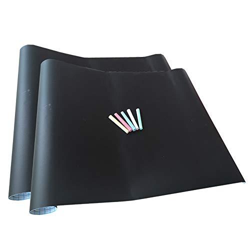 2x Papel Láminas Pizarra Negra Autoadhesivas 200 x 45 cm | Removible, Personalizable, Borrable | Pizarrón Negro para Escuela, Casa, Cocina, Oficina | 5 Tizas de Color...