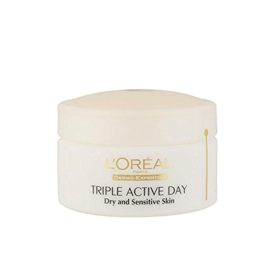 継続中運動する淡いL'Oreal Paris Dermo Expertise Triple Active Day Multi-Protection Moisturiser - Dry/Sensitive Skin (50ml) (Pack of 6) - ロレアルパリ、真皮の専門知識トリプルアクティブな一日のマルチ保護保湿 - ドライ/敏感肌(50ミリリットル) x6 [並行輸入品]