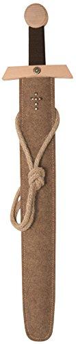 Stabiles Excalibur Schwert-Set natur, 66cm Länge mit Schwert aus Buche-Echtholz und Schwert-Scheide aus Filz [Tolles Design | Viele Details| Made in Germany]