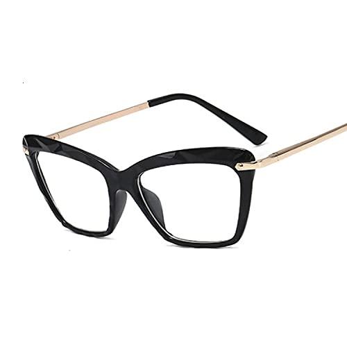 FEIHAIYANY Gafas de sol para mujer con montura para gato, lentes transparentes, lentes de miopía, gafas retro para computadora (color del marco: negro)