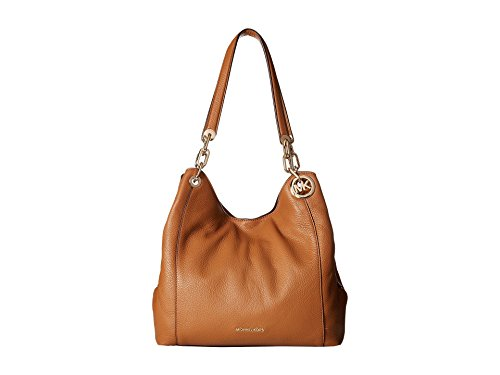"""13-1/2""""W x 11-1/2""""H x 5""""D (width is measured across the bottom of bag) 12""""L double handles Snap closure Gold-tone exterior hardware 1 interior zip pocket, 8 slip pockets & 1 center zip compartment"""
