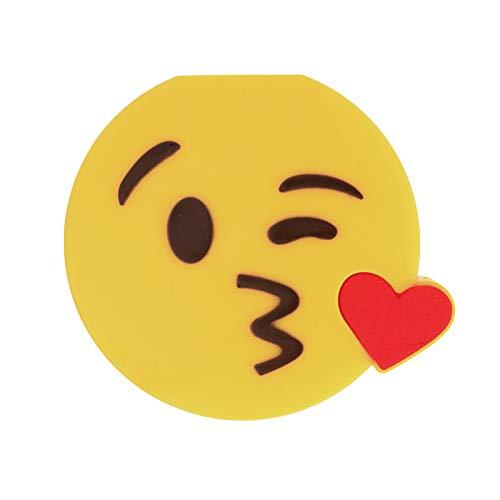 CoverKingz Emoji Powerbank 2600mAh externes tragbares USB Ladegerät für Handys und andere Geräte mit USB Anschluss, Kuss Smiley