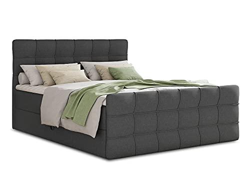 Boxspringbett Best Lux mit Fußteil, 2 Bettkästen und Topper - Doppelbett, Bonell-Matratz, Polsterbett, Bett, Betten, Bettgestell, Schlafzimmer (Graphit (Inari 94), 180 x 200 cm)