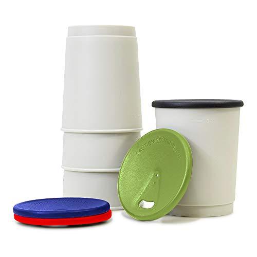 achilles Barista 365 Coffee-to-Go-Becher 4er Set Kaffee-Becher BPA-frei LFGB geprüft Wiederverwendbarer Trink-Pfand-Mehrweg-Becher Spülmaschinenfest Deckel in Bunt 330ml