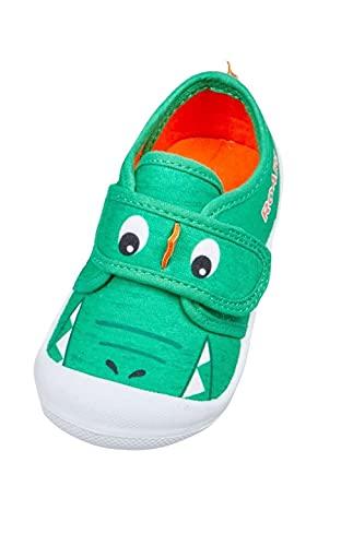 Zapatos de parachoques de tela verde dinosaurio para niños, color Verde, talla 23 EU
