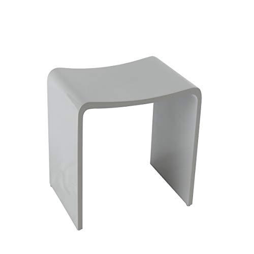 KZOAO Design Badhocker Duschhocker aus Mineralguss in den Farben Weiß, Grau und Schwarz sowie in den Oberflächen Matt und Glänzend verfügbar, Oberfläche:Grau Glänzend