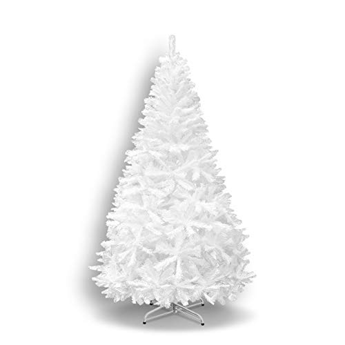 7' White 210CM New Classic Pine Christmas Tree Artificial Realistic Natural Branches-Unlit with Metal Stand
