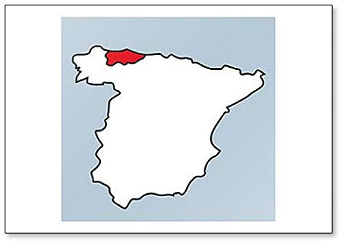 Imán para nevera con diseño de mapa de Asturias de la Provincia de España