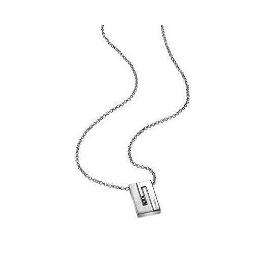 Breil TJ1269 - Catenina con pendente da uomo con cristallo Swarovski, acciaio inossidabile, 470 mm