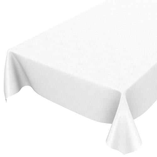 ANRO Wachstuchtischdecke Wachstuch Wachstischdecke Tischdecke Reliefdruck Blumen Einfarbig Uni Weiß 100x140cm