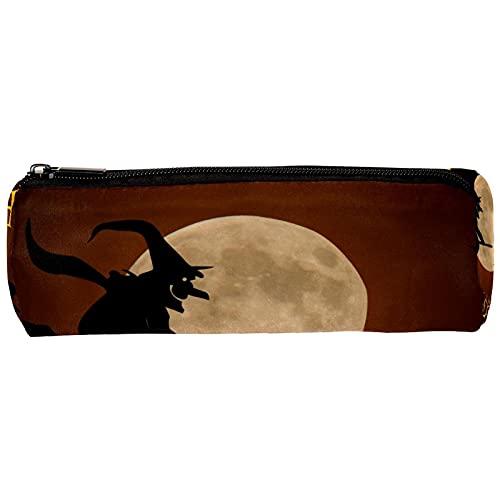 Happy Halloween Pumpkin Bat y Full Moon - Estuche de lápices para lápices, estuche estacionario, organizador de escritorio para maquillaje, bolsa de cosméticos para la escuela, oficina