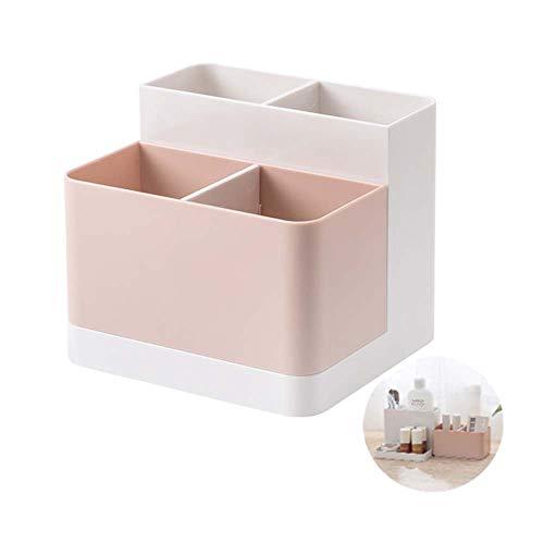 Staccabile 4 scomparti Organizer da scrivania/Portaoggetti da scrivania/Riordinatore di Penne/Organizzatore di trucco per cosmetici, Articoli di immagazzinamento per Garage in Plastica(Rosa)