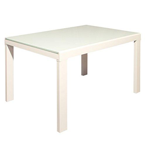 RR DESIGN Mesa extensible de cristal lacado blanco cocina sala moderna modelo Alan
