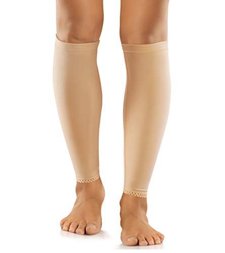 LODAY Calf Compression Sleeve for Women-Sports Leg Support Socks for Varicose Veins,Shin Splints,Swelling and Muscle Recovery (Nude (One Pair) (15-25mmhg), XL)