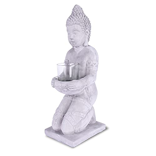 Kante SX20200173 Cement Composite Buddha Statue Tealight Candle Holder Ornament, Natural Concrete Indoor/Outdoor Tabletop Décor, 12.8' H, Gray