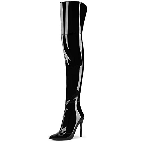 Higher-Heels PleaserUSA Overknee Stiefel Courtly-3012 Lack schwarz Gr.40