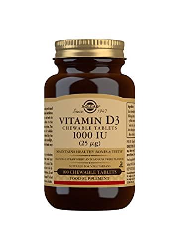 Solgar Vitamin D3 1000 IU (25 µg) Chewable Tablets - Pack of 100
