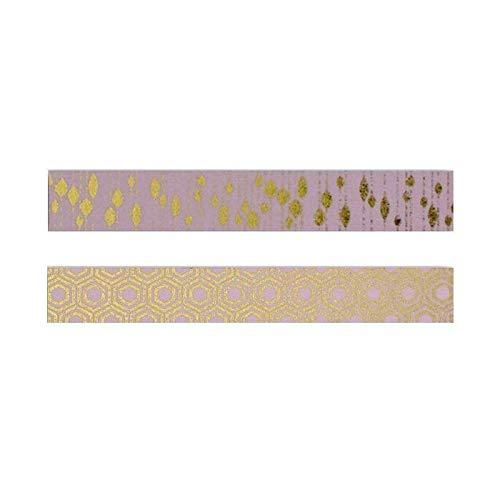 Toga 2 Masking Tapes Rose à Motifs dorés